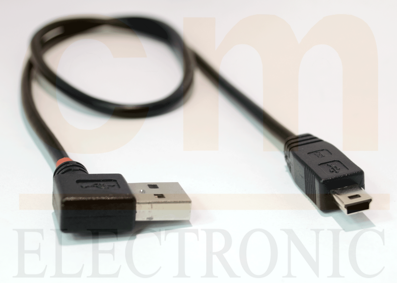 USB type A Male (Left angle) to Mini B Cable